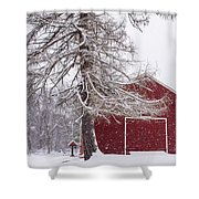 Wayside Inn Red Barn Covered In Snow Storm Reflection Shower Curtain