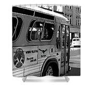 Wbru-fm Bus Sign, 1975 Shower Curtain