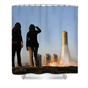 We Have Lift-off Shower Curtain