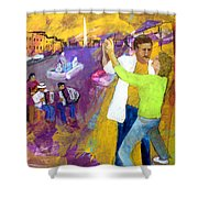 We Tangoed On The Piazza Navono Shower Curtain by Keith Thue