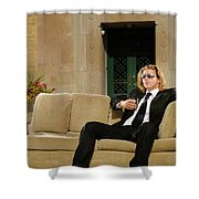 Wealthy Young Man In Suit Sitting On A Couch With A Drink On A T Shower Curtain