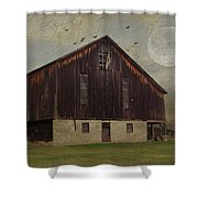 Weathered Barn And Birds Shower Curtain by Stephanie Calhoun
