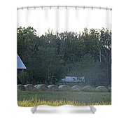 Weathered Barn And Hay Bales  Shower Curtain