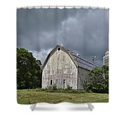 Weathered Barn And Silo Under A Cloudy Sky Shower Curtain