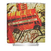 Weathered Bus Routes Shower Curtain