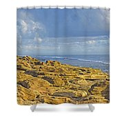 Weathered Coquina Ocean Rocks Shower Curtain
