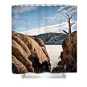 Weathered - Pathfinder Reservoir - Wyoming Shower Curtain