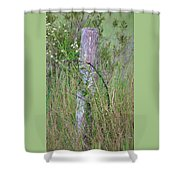 Weathered Fence Post Shower Curtain