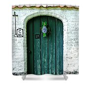 Weathered Green Door Shower Curtain