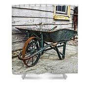 Weathered Green Wheelbarrow Shower Curtain