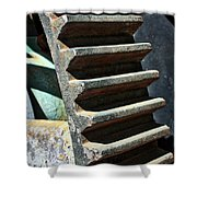 Weathered Metal Cogs Shower Curtain