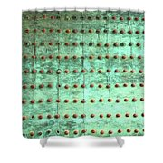 Weathered Metal Rivets With Green Patina Shower Curtain
