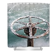 Weathered Metal Valve On Ice Shower Curtain