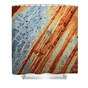 Weathered Metal With Stripes Shower Curtain