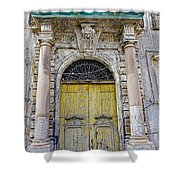 Weathered Old Artistic Door On A Building In Palermo Sicily Shower Curtain