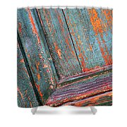 Weathered Orange And Turquoise Door Shower Curtain