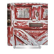 Weathered Red Door 1 Shower Curtain