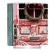 Weathered Red Door 3 Shower Curtain