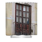 Weathered Red Door On A Balcony Shower Curtain
