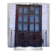 Weathered Red Wood Door Shower Curtain