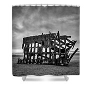 Weathered Rusting Shipwreck In Black And White Shower Curtain