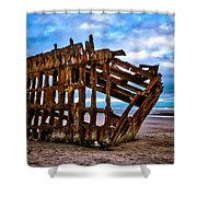 Weathered Shipwreck Shower Curtain