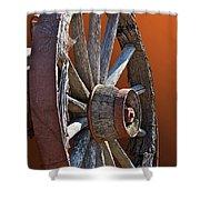 Weathered Wagon Wheel  Shower Curtain
