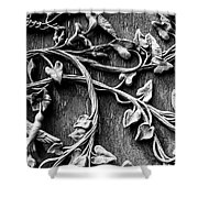 Weathered Wall Art In Black And White Shower Curtain