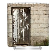 Weathered White Wood Door Shower Curtain