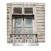 Weathered Window Balcony Shower Curtain