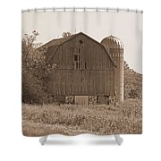Weathered Wisconsin Barn In Sepia Shower Curtain
