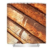 Weathered Wood Log Cabin Shower Curtain
