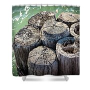 Weathered Wood Pier Posts In Lake Michigan Shower Curtain