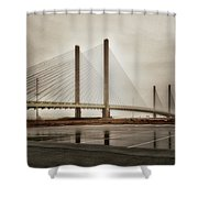 Weathering Weather At The Indian River Inlet Bridge Shower Curtain