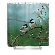 Web Chickadees Shower Curtain