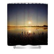 Webster Lake December Sunrise  Shower Curtain