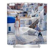 Wedding At Santorini Shower Curtain