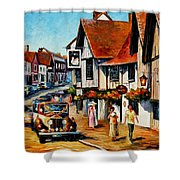Wedding Day In Lavenham-suffolk-england - Palette Knife Oil Painting On Canvas By Leonid Afremov Shower Curtain