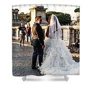 Wedding Stroll On The Ponte Sant'angelo Shower Curtain
