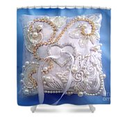 Weding Ring Pillow. Ameynra Design Shower Curtain