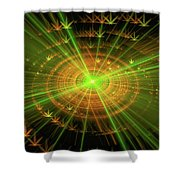 Weed Art Green And Golden Light Beams Shower Curtain
