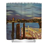 Weehawken From Pier 78 Shower Curtain by Milagros Palmieri