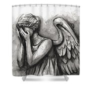 Weeping Angel Watercolor Shower Curtain