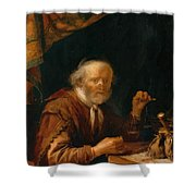 Weighing Gold 1664 Shower Curtain