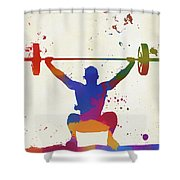 Weightlifter Paint Splatter Shower Curtain