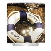 Welcome Aboard Nautical Paradise Shower Curtain