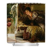 Welcome Footsteps Shower Curtain by Sir Lawrence Alma-Tadema