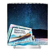 Welcome Sign To Death Valley National Park California At Night Shower Curtain