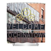 Welcome To Chinatown Sign In Manhattan Shower Curtain