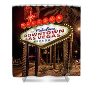 R.i.p. Welcome To Downtown Las Vegas Sign At Night Shower Curtain